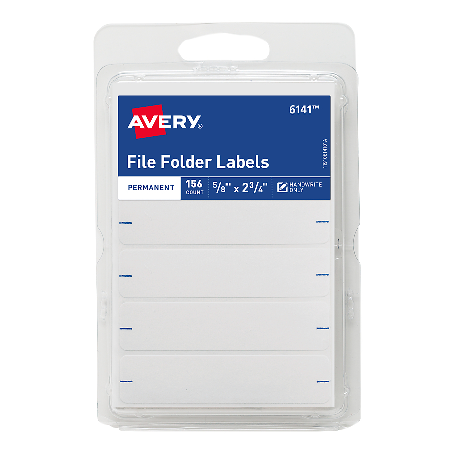 "Avery(R) White File Folder Labels 6141, 2-3/4"" x 5/8"", Pack of 156"