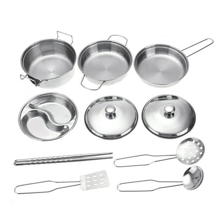 10pcs Stainless Steel Kitchen Toys Cookware Kitchen Cooking Set