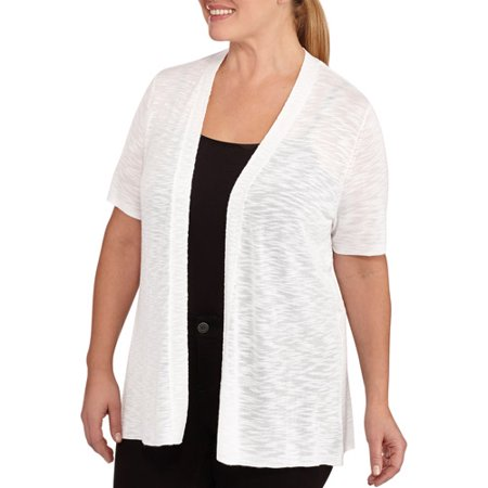 Faded Glory Women's Plus-Size Short Sleeve Slub Sweater Shrug ...
