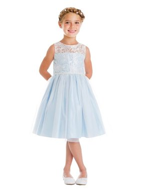 e25ba15d0eb4 Product Image Little Girls Blue Embroidered Mesh Pearl Trim Party Easter  Dress. Sweet Kids
