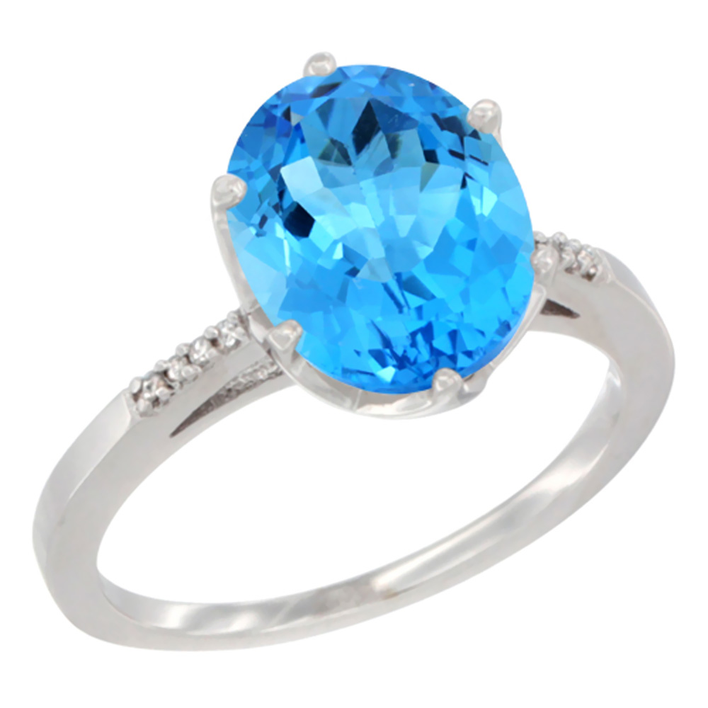 10K White Gold Natural Swiss Blue Topaz Ring 10x8 mm Oval Diamond Accent, sizes 5 10 by WorldJewels