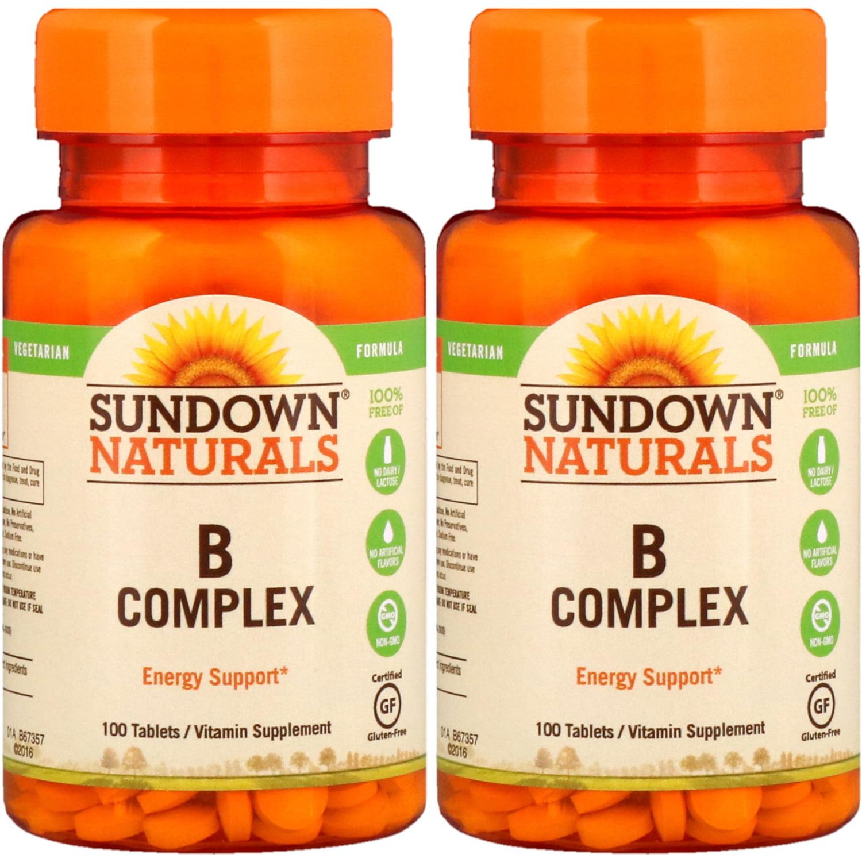 2 Pack - Sundown Naturals B Complex Tablets 100 Tablets Each