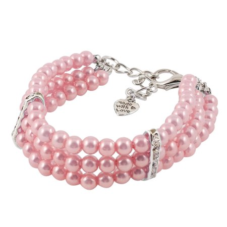 Pink Beads Ornament Rhinestone Inlaid Pet Dog Doggie Collar Jewelry Necklace -