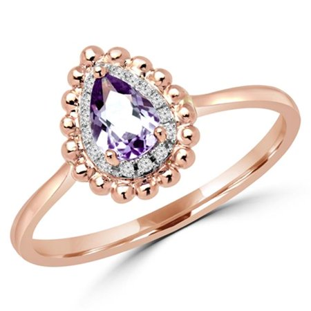 0.38 CTW Pear Cut Amethyst & Diamond Halo Cocktail Promise Ring in 10K Rose Gold, Size 6.5 10k Gold Cocktail Rings