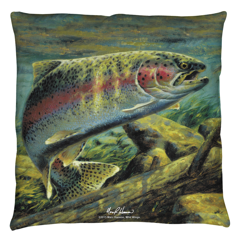 Wild Wings Rainbow Trout 2 Throw Pillow White 20X20