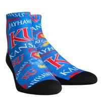 Kansas Jayhawks Rock Em Socks Women's Logo Sketch Quarter Socks - S/M