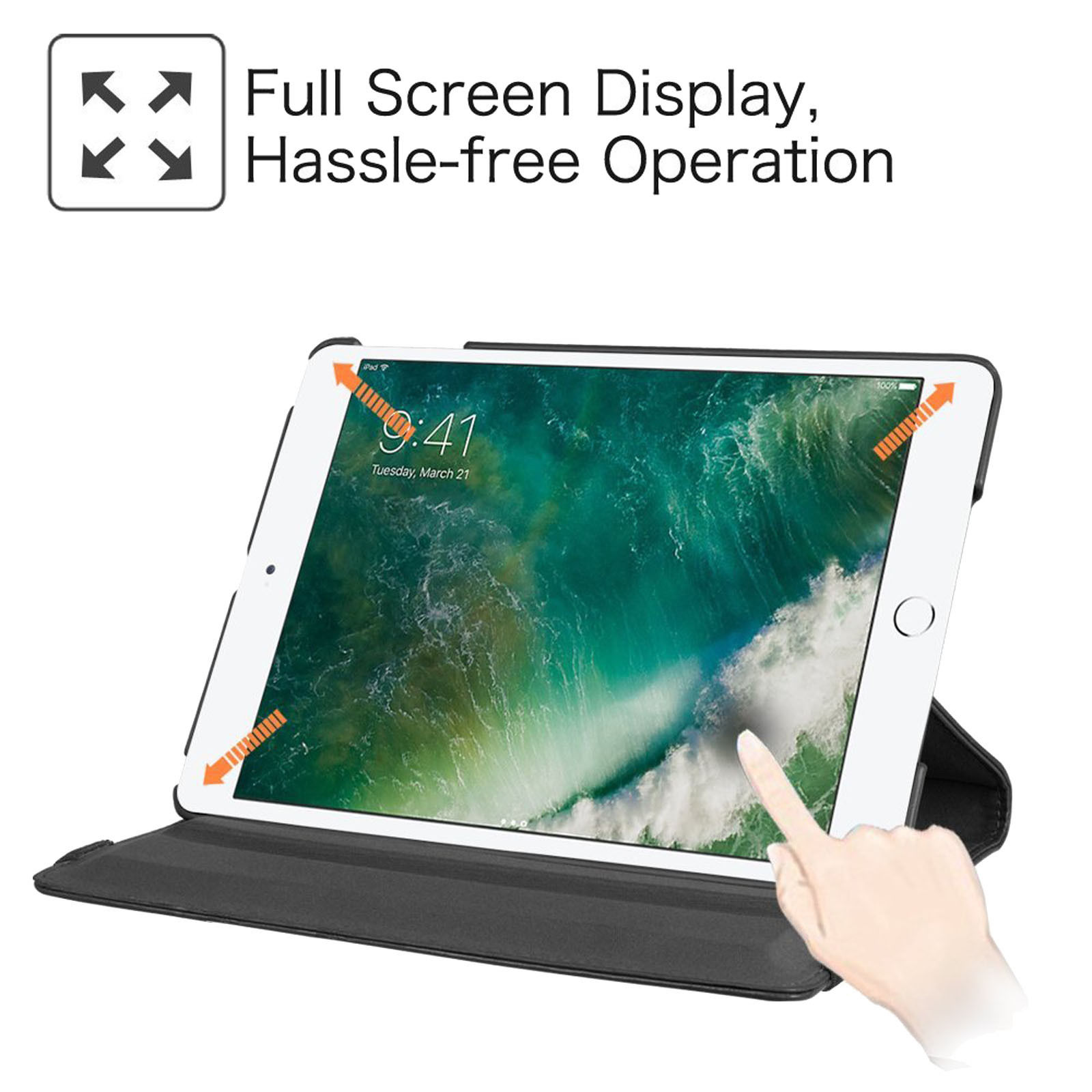 LivEditor Apple iPad 360 Degree Rotating Stand Case with Auto sleep and wake Function CA - image 2 of 4