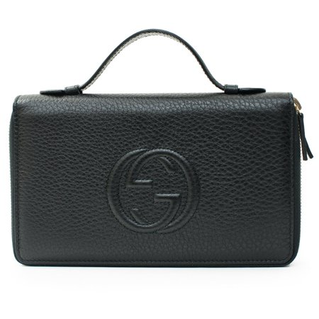 Gucci Soho Black Travel Double zip Leather top Bag Handbag Purse Wallet New
