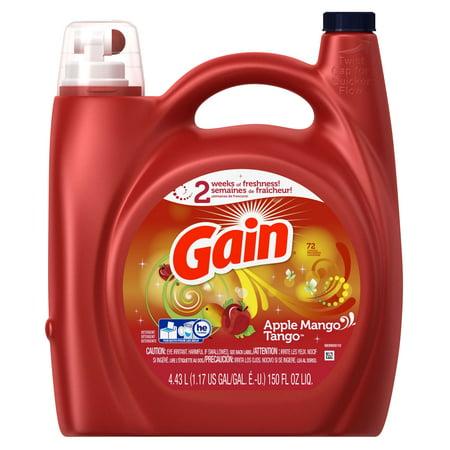 Gain Liquid Laundry Detergent   Apple Mango Tango Scent   72 Loads   150Oz
