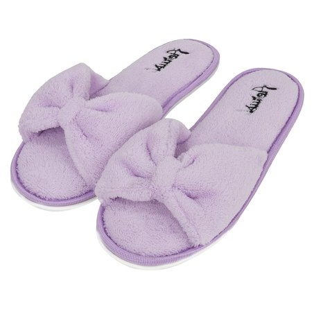 Rubber Sole Bow - Women's Soft and Cozy Ribbon Plush Bow Sandal Slippers With No-Slip Rubber Sole For Indoor, Outdoor, Spa Use (Purple)