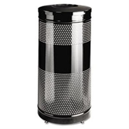 Rubbermaid Commercial Classics Perforated Open Top Round Steel Receptacle, 25 gallon, Black