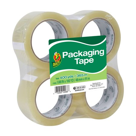 Duck Standard Packing Tape, 1.88 in. x 100 yd., Clear, 4-Count