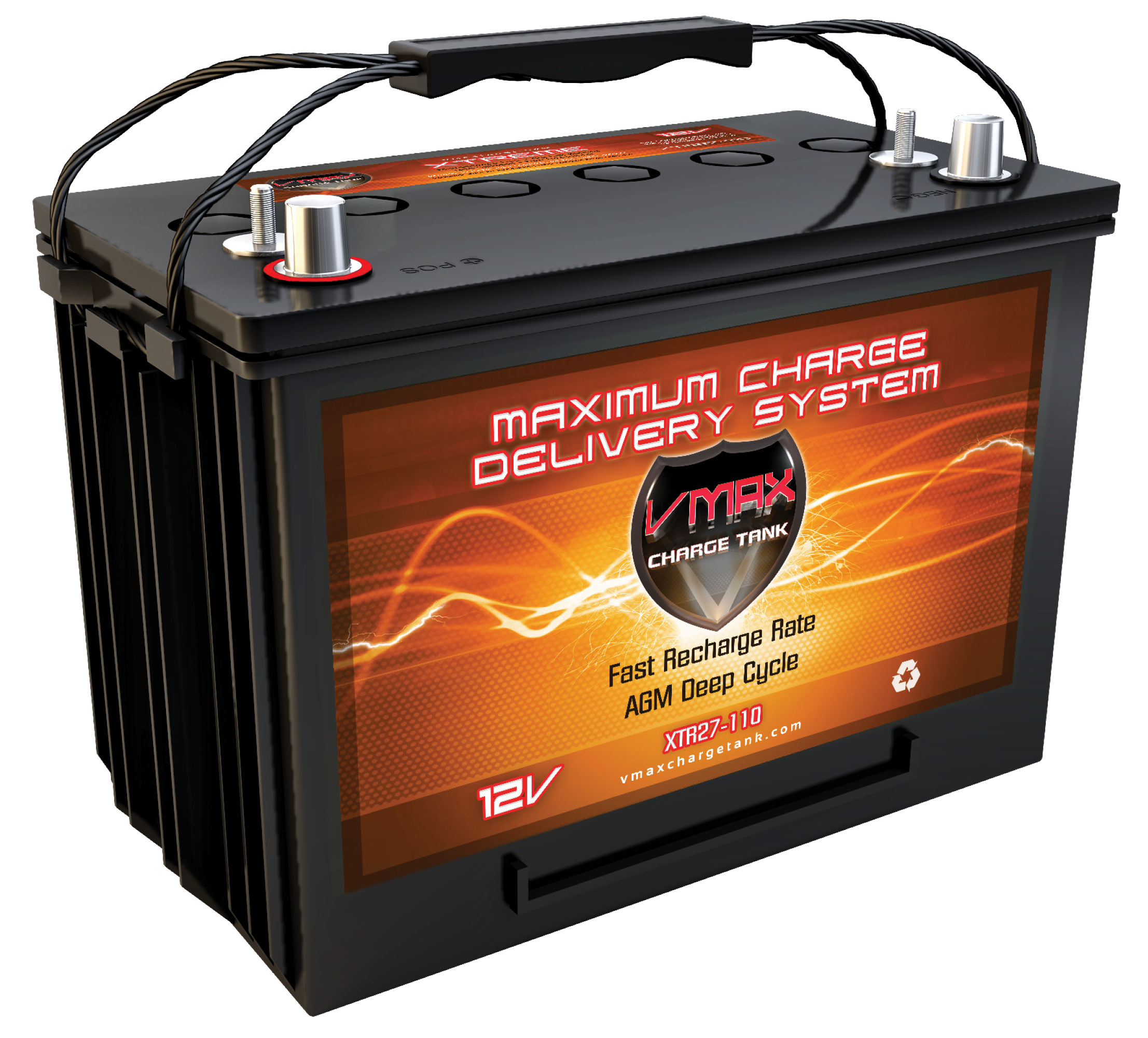 VMAX XTR27-110 12V 110Ah Group 27 AGM Deep Cycle Battery for golf carts req.