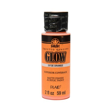 FolkArt Glow-In-The-Dark Orange Paint, 2 Fl. Oz. - Glow In The Dark Body Paint