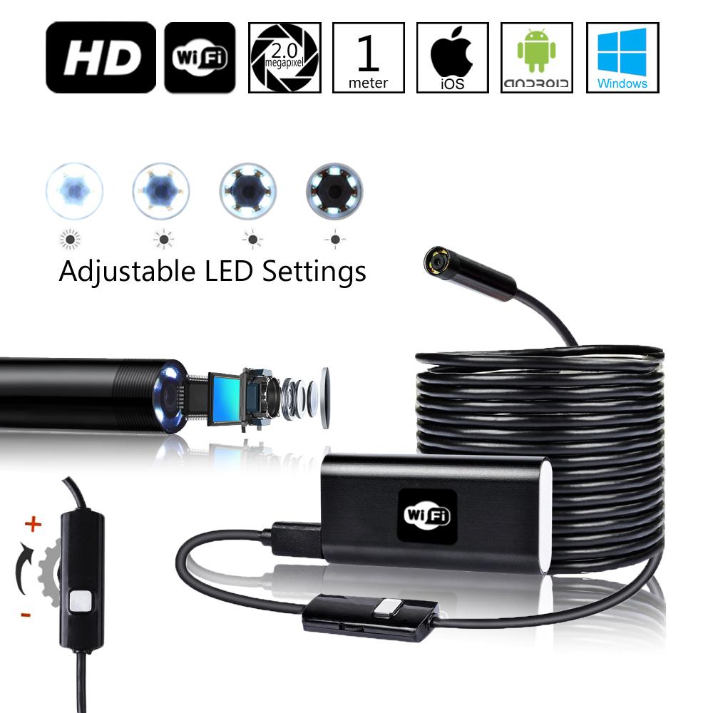 Indigi® Waterproof Endoscope Borescope Wireless WiFi Inspection Snake Camera for iPhone & Android - Adjustable LEDs - 1M