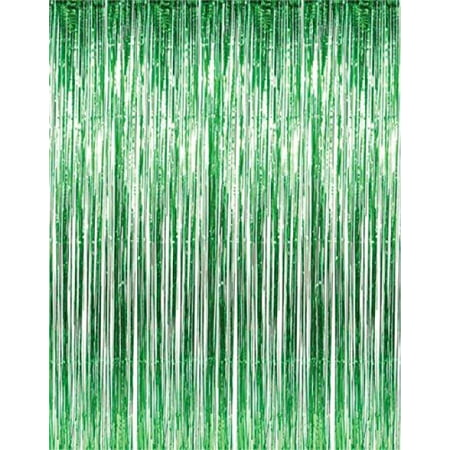 1 X 3' x 8' Green Tinsel Foil Fringe Door Window Curtain Party Decoration - Circus Door Decorations