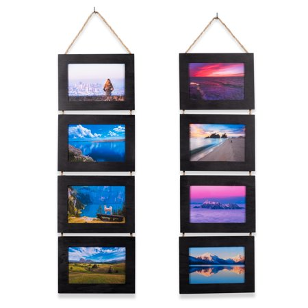 Wallniture Aries 4x6 Picture Frame Vertical Wall Collage Wood, Set of 2 ()