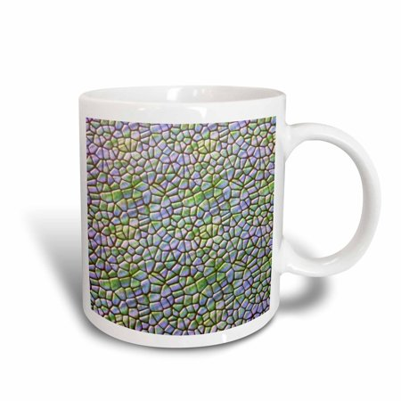 3dRose Green and Blue Mosaic Tile, Ceramic Mug, 11-ounce (Blue Tire Lights)