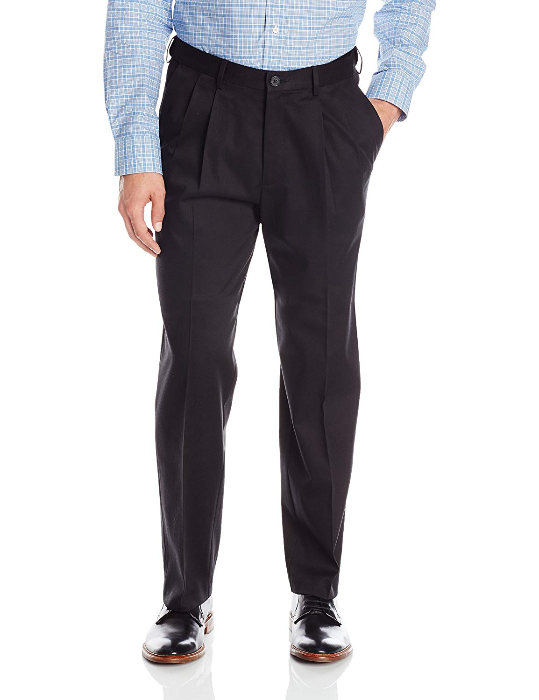 Haggar Mens Premium No Iron Classic Fit Expandable Waist Pleat Front Pant