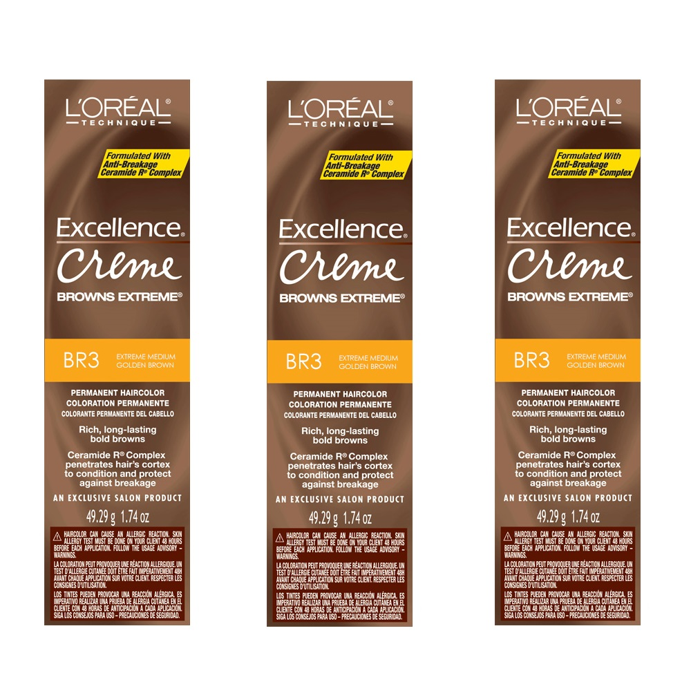 L'Oreal Excellence Creme Extreme BR3 Medium Golden Brown Color HC-06238 (3 Pack)