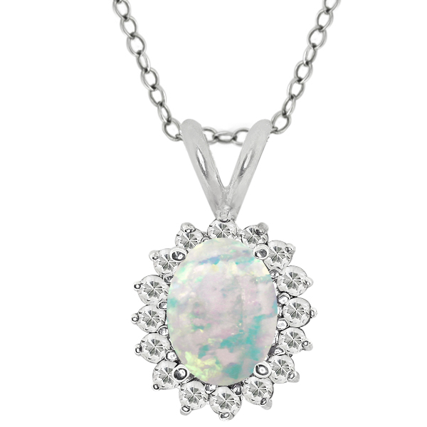 Oval Cabochon White Simulated Opal White Topaz 925 Silver Pendant 1.37 Cttw With 18 Inch Chain