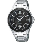 Mens Analog Stainless Watch - Silver Bracelet - Black Dial - PS9095