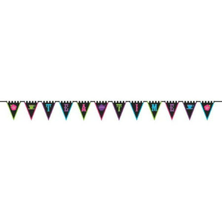 Mad Hatter Tea Party Fabric Flag Banner - Mad Hatter Tea Party Decorations For Sale