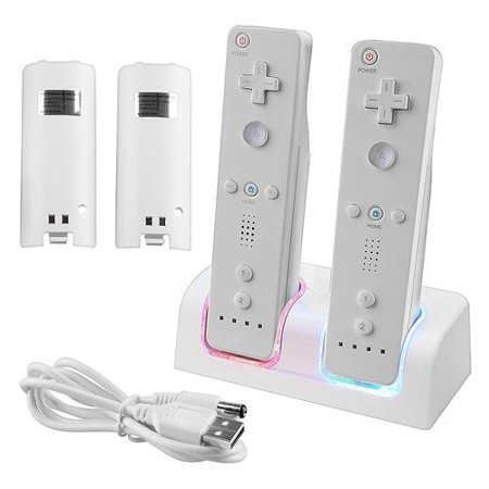 Nintedo Wii / Wii U Dual Remote Controller Charger Dock Station + 2x Replacement Battery by Insten, White