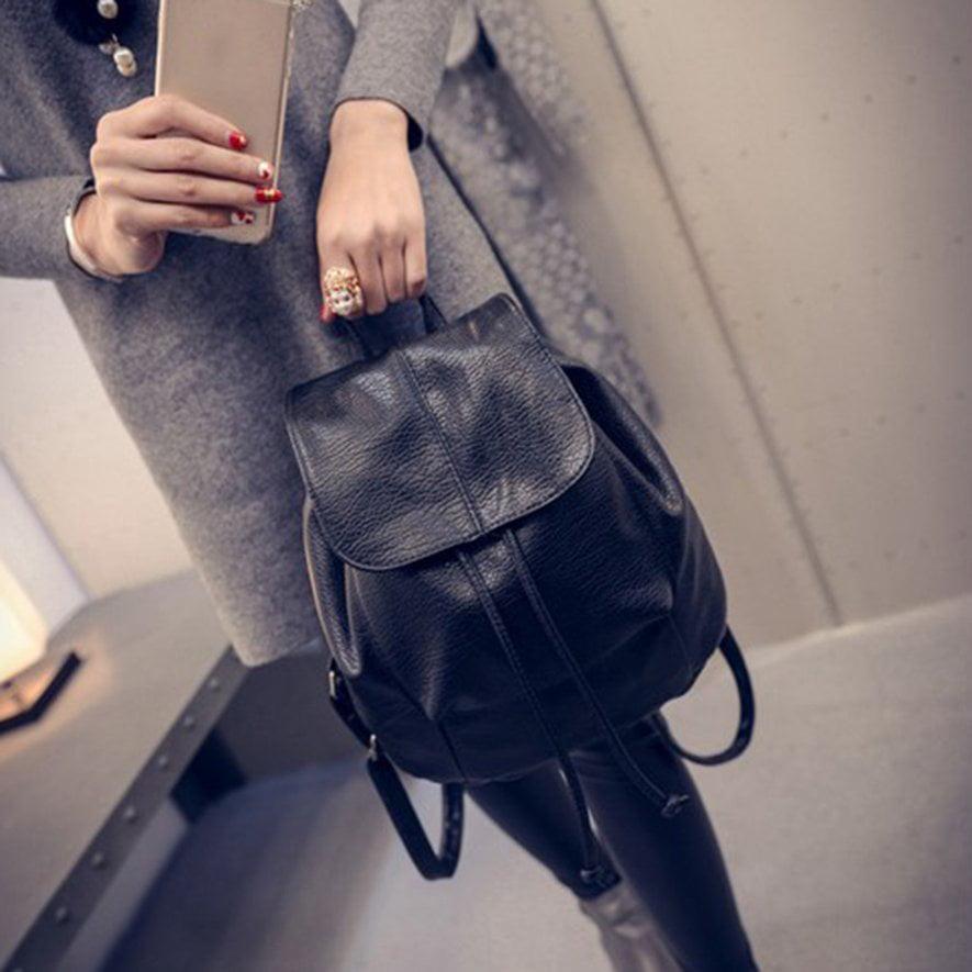 Fancyy Fashion Leather School Bag Travel Cute Backpack Satchel Shoulder Rucksack black