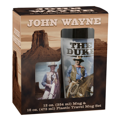 Vandor LLC John Wayne Plastic Travel Mug and 12 oz. Mug