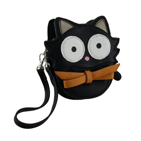 Bitty Kitty Big Eyed Black Cat Vinyl Coin Purse with Removable Wrist Strap - Catseye Bags