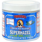 Thayers Astringent Pads - Medicated Witch Hazel - 60 Pads (Pack Of 2)