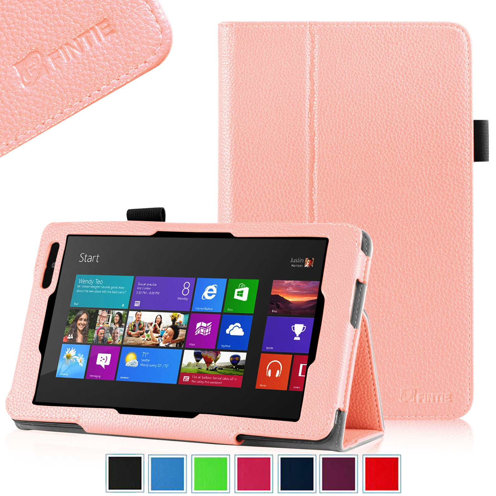 [View Upsells for Item] 	Fintie Dell Venue 8 Pro Tablet (Windows 8.1) Folio Case Slim Fit PU Leather Stand Cover, Pink