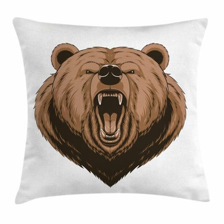 Bear Throw Pillow Cushion Cover, Angry Scary Face Powerful Vicious Beast Mascot Cartoon Character with Fangs, Decorative Square Accent Pillow Case, 16 X 16 Inches, Caramel Dark Brown, by (The Best Cartoon Characters)