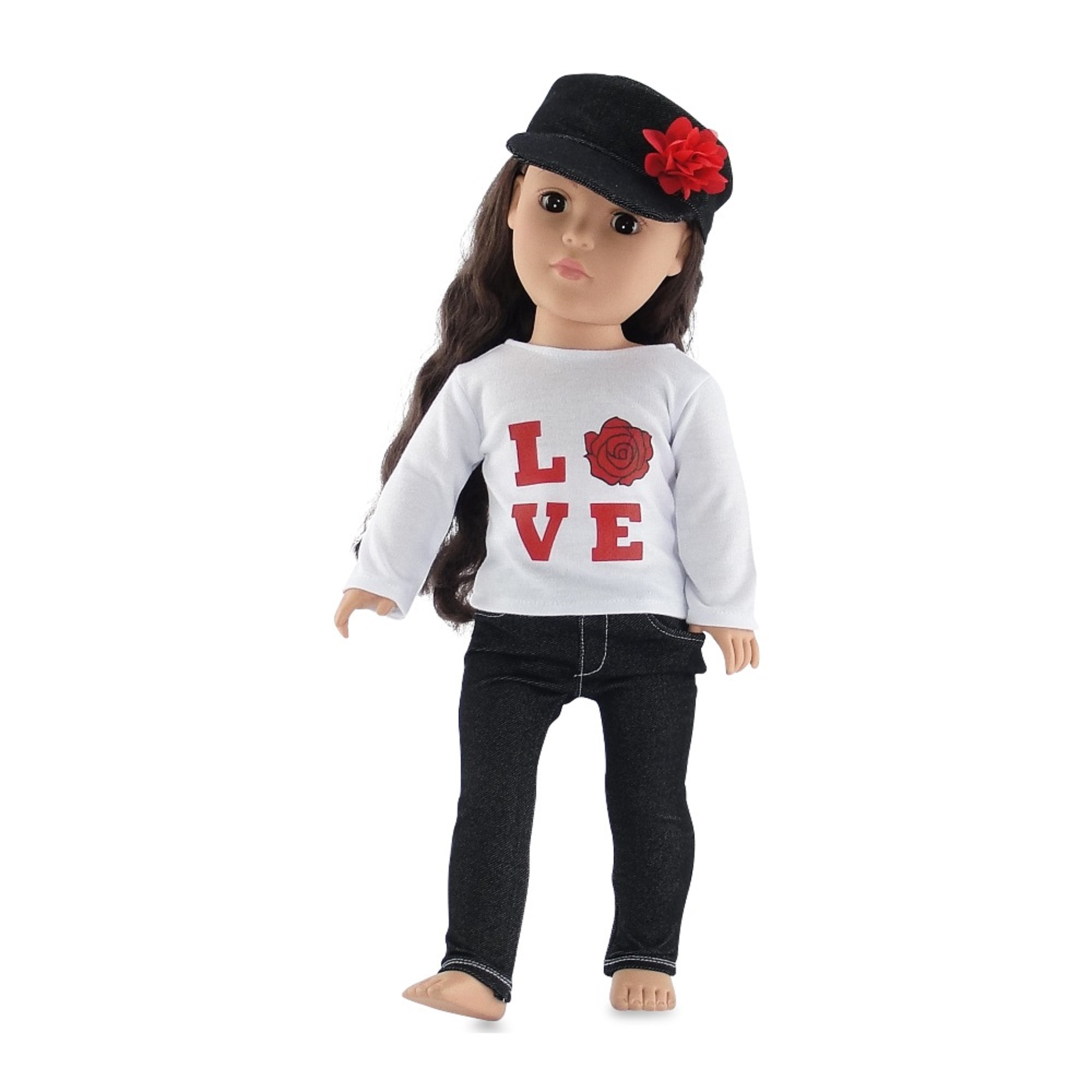 """18 Inch Doll Clothes   Black Stretch Skinny Jeans Outfit, Including Long Sleeved T-Shirt with """"Love"""" Rose Graphic and Denim Hat   Fits American Girl Dolls"""