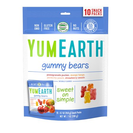 YumEarth Gummy Bears 7 oz (10 Snack Packs) (Gummy Bugs)