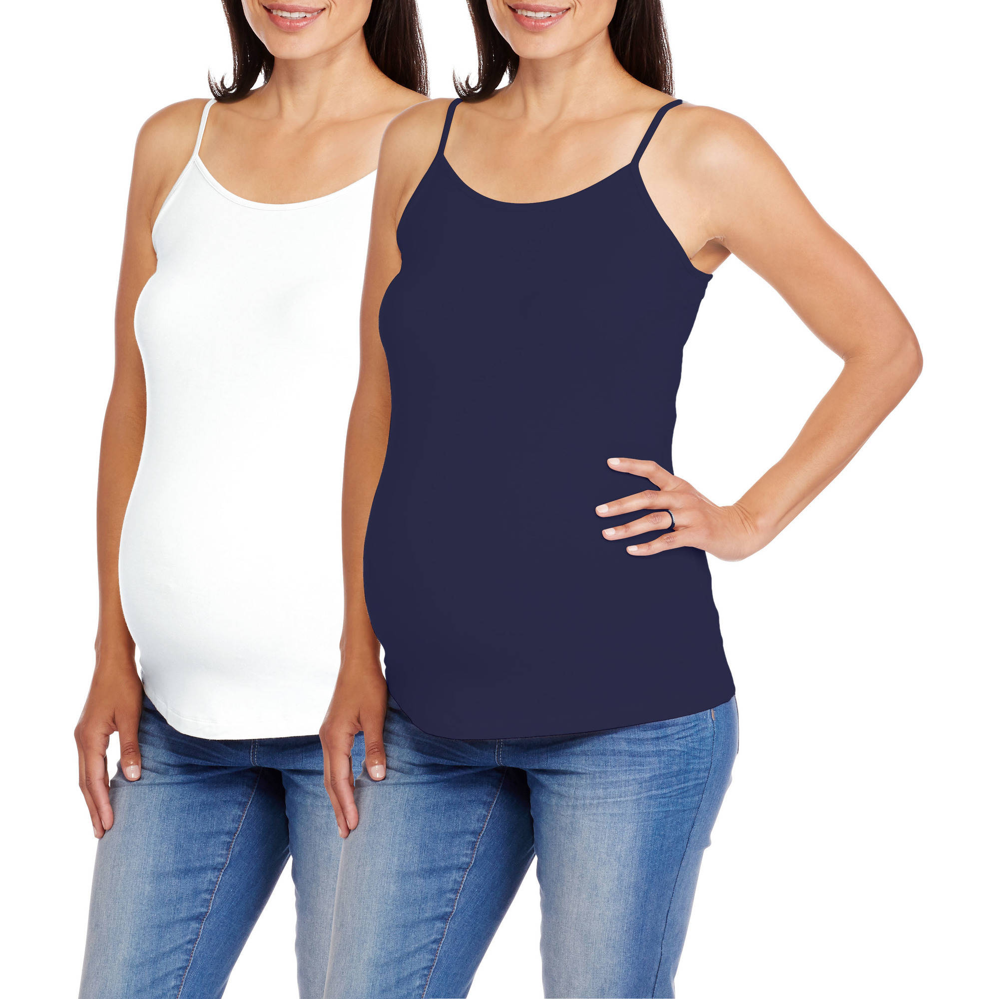 Faded Glory Maternity Adjustable Strap Cami, 2-Pack