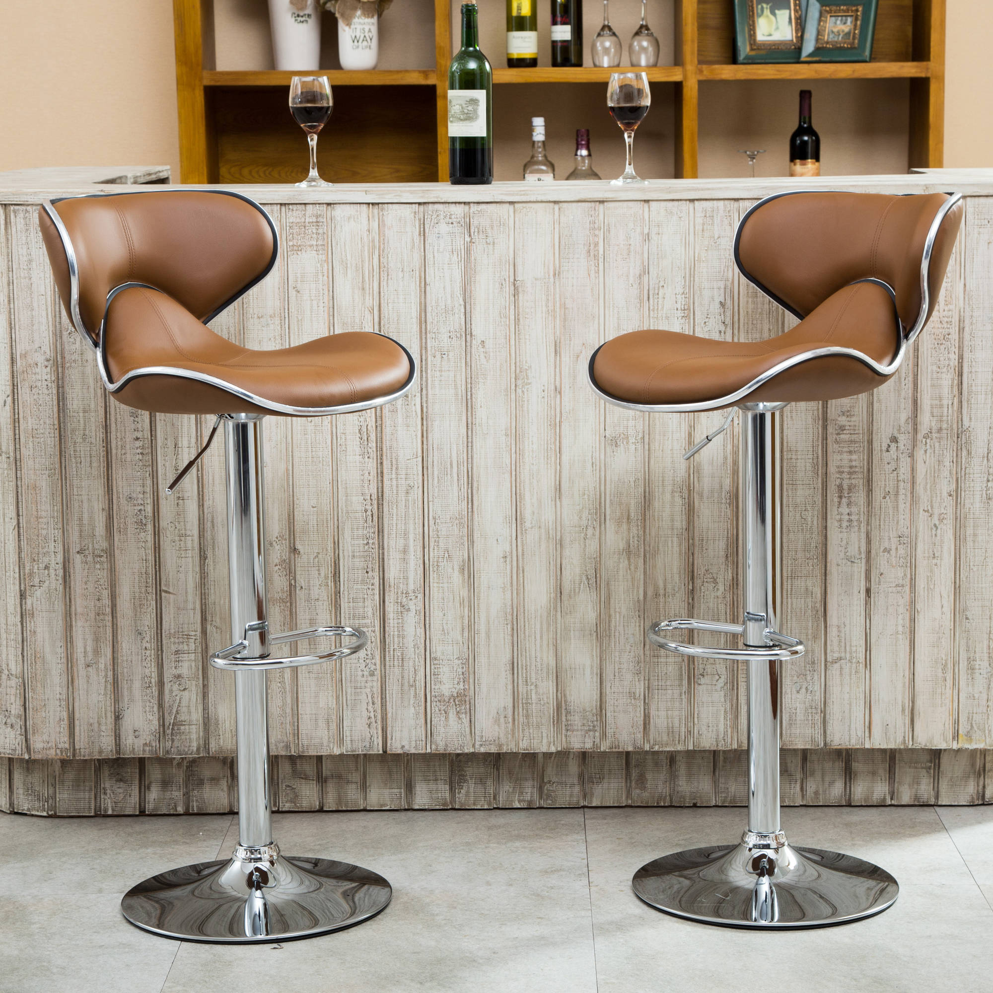 Roundhill Masaccio Cushioned Leatherette Upholstery Airlift Adjustable  Swivel Barstool With Chrome Base, Set Of 2