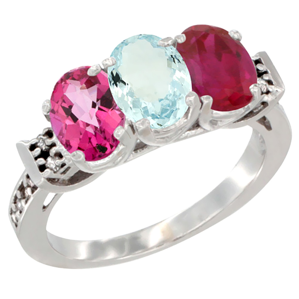 10K White Gold Natural Pink Topaz, Aquamarine & Enhanced Ruby Ring 3-Stone Oval 7x5 mm Diamond Accent, sizes 5 10 by WorldJewels