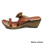 In Things Corp Saachi Women's Flower Leather Wedge Sandals (China)