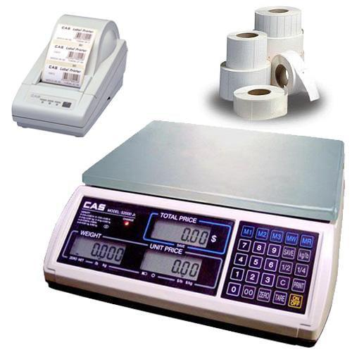 CAS JR-S-2000-60 NTEP Scale  60 x 0 01 lb w Printer   Case of Labels