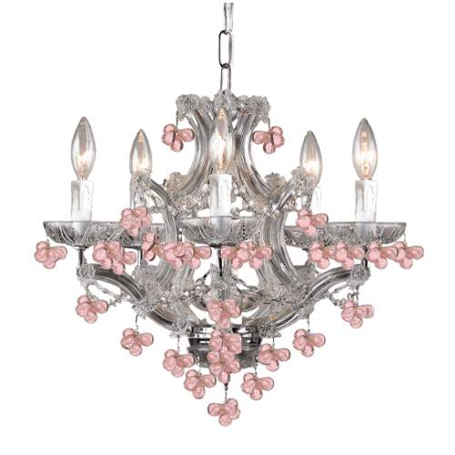 Crystorama 4305-CH-ROSA Six Light Chandelier by Crystorama