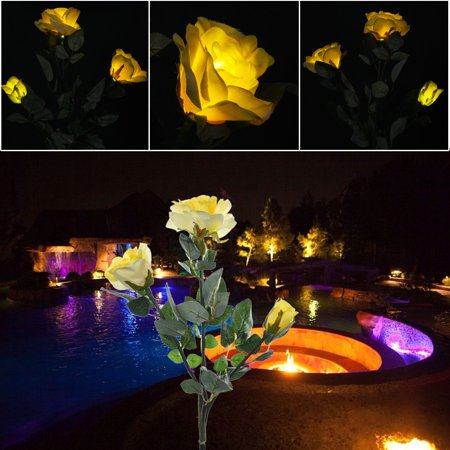3 Head Yellowrose Flower Solar Light Led Decorative Outdoor Lawn Lamp