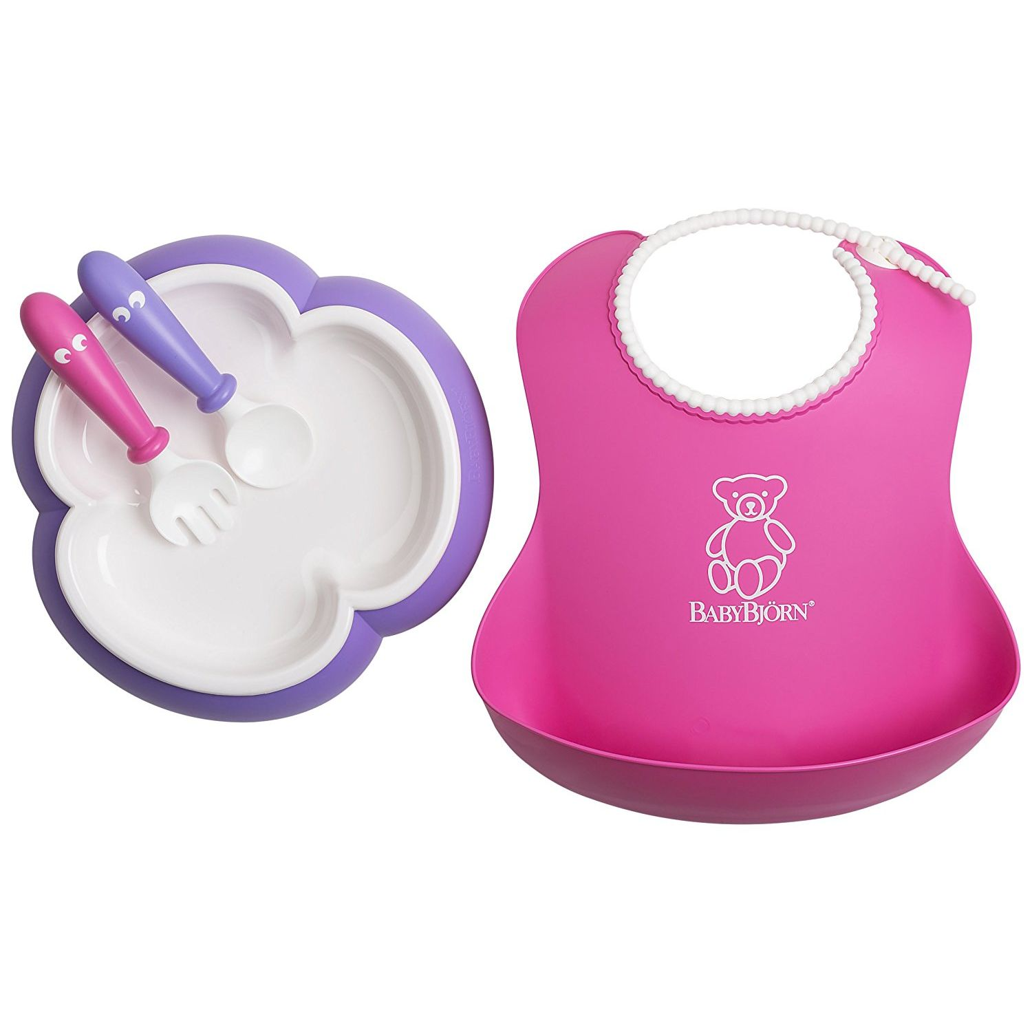 BabyBjorn Baby Feeding Set - Pink Soft Bib, Purple Plate, Purple Spoon and Pink Fork