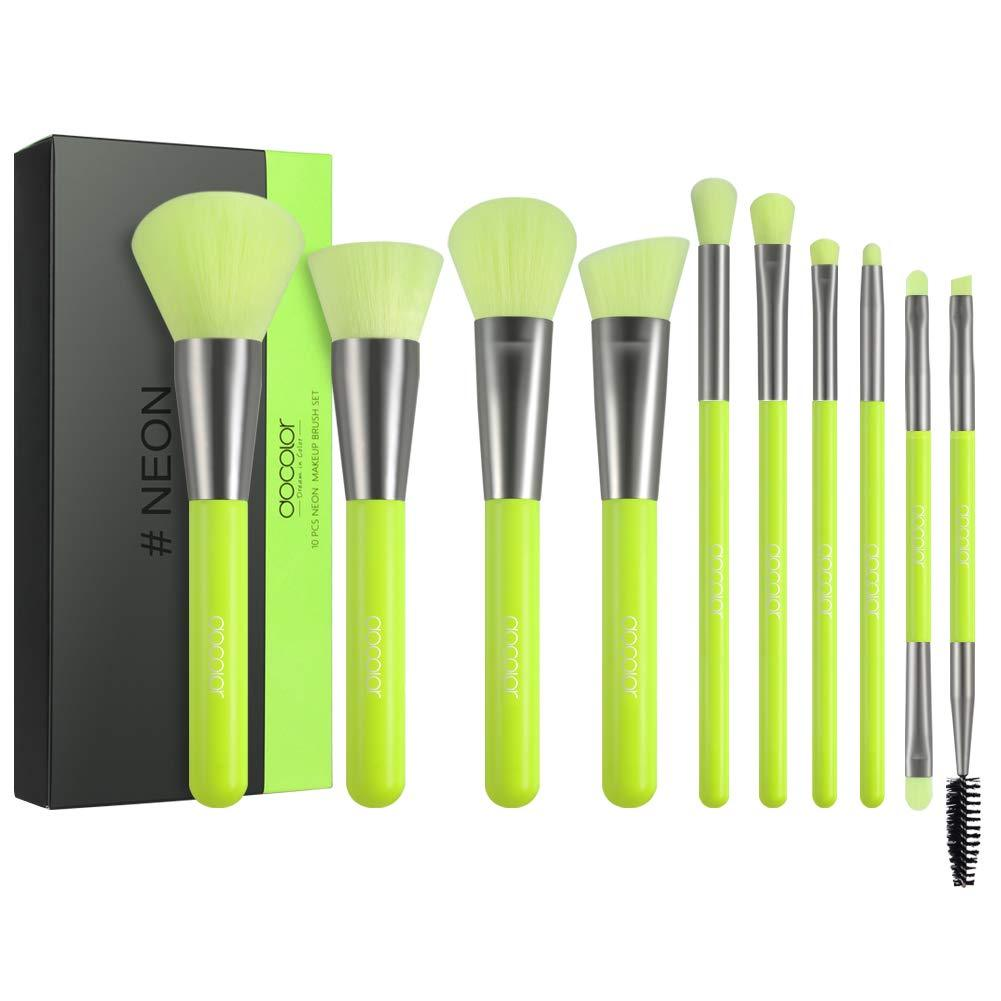 Piece Neon Green Makeup Brush Set