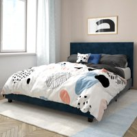 Mainstays Upholstered Bed, Queen Bed Frame, Blue Velvet
