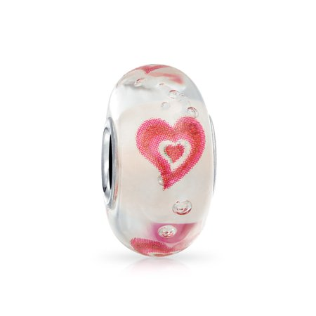 Murano Glass Heart Charm (Love Heart Pink Glow In Dark Murano Glass 925 Sterling Silver Core Spacer Bead Fits European Charm Bracelet For Women )
