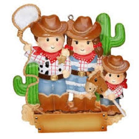 Cowboy Family with 1 Kid Personalized Christmas Tree Ornament  ()