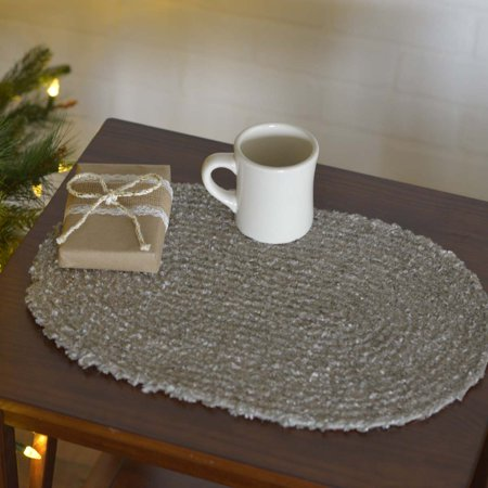 Ashton & Willow Silver Cloud Grey Seasonal Decor Dyani Jute Polyester Blend Textured Solid Color Oval Placemat Set of 6