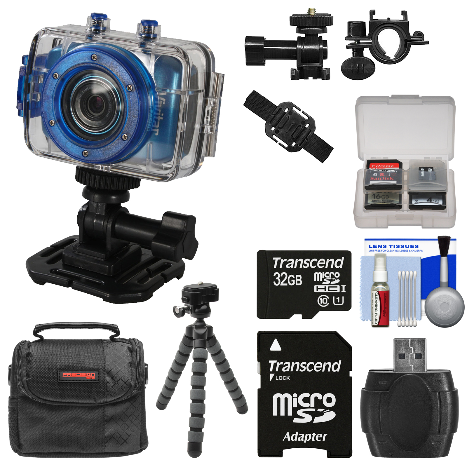 Vivitar DVR785HD Waterproof Action Video Camera Camcorder (Blue) with Helmet & Bike Mounts with 32GB Card + Case + Flex Tripod + Kit